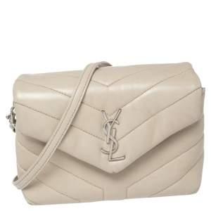 Saint Laurent Beige Matelasse Leather Loulou Crossbody Bag