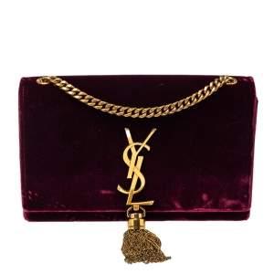 Saint Laurent Burgundy Velvet Monogram Kate Tassel Crossbody Bag