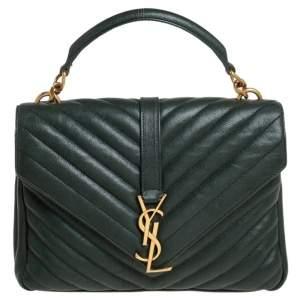 Saint Laurent Green Matelassé Leather Medium College Top Handle Bag
