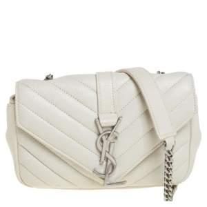 Saint Laurent Off White Matelassé Leather Monogram Chain Crossbody Bag