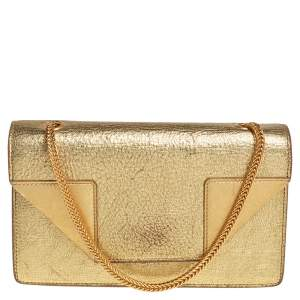 Saint Laurent Metallic Gold Crinkled Leather Betty Crossbody Bag