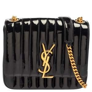 Saint Laurent Black Patent Leather Large Monogram Vicky Shoulder Bag