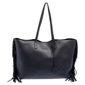 حقيبة يد سان لوران شوبر كبيرة شراشيب جلد أسود