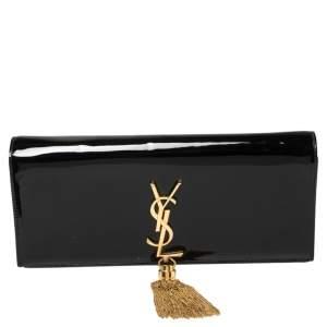 Saint Laurent Black Patent Leather Kate Tassel Clutch