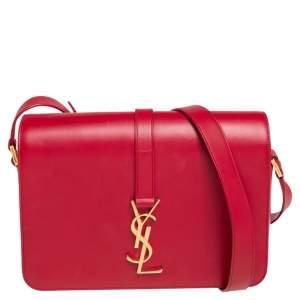 Saint Laurent Red Leather Medium Monogram Universite Shoulder Bag