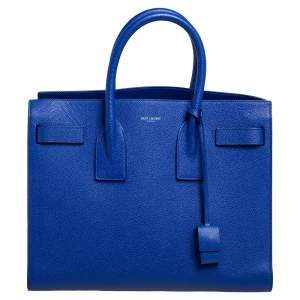 حقيبة يد سان لوران ساك دو جور جلد أزرق كلاسيك صغيرة