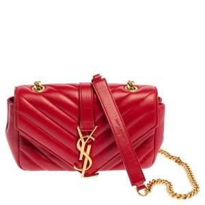 Saint Laurent Red Leather Classic Baby Monogram Chain Bag