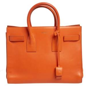 Saint Laurent Orange Leather Small Classic Sac De Jour Tote