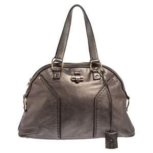 حقيبة يد سان لوران باريس ميوز جلد رمادي ميتالك متوسطة