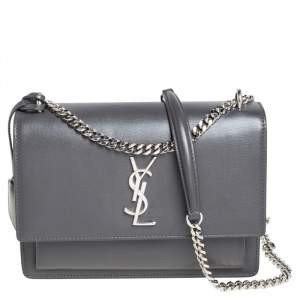 Saint Laurent Grey Leather Medium Sunset Shoulder Bag