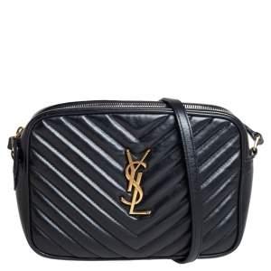 Saint Laurent Black Matelassé Leather Monogram Lou Camera Crossbody Bag