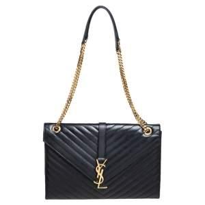 Saint Laurent Black Chevron Quilted Leather Monogram Envelope Shoulder Bag