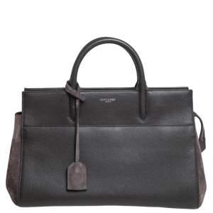 حقيبة يد سان لوران كاباس ريف جاوش صغيرة سويدي وجلد رمادي