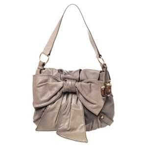 Saint Laurent Grey Leather Bow Shoulder Bag