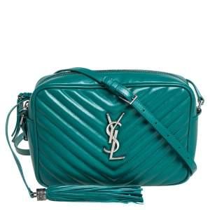 Saint Laurent Green Matelassé Leather Monogram Lou Camera Crossbody Bag