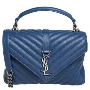 Saint Laurent Blue Matelassé Leather Medium College Top Handle Bag