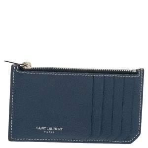 Saint Laurent Grained Blue Leather Fragments Card Holder