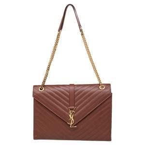 Saint Laurent Brown Leather Large Cassandre Flap Shoulder Bag