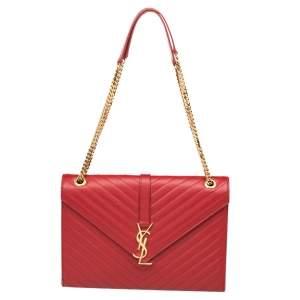 Saint Laurent Red Quilted Leather Envelope Shoulder Bag