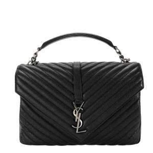 Saint Laurent Black Matelasse Quilted Leather Large College Bag