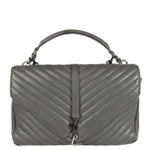 Saint Laurent Gray Matelasse Quilted Lambskin Large College Top Handle Bag