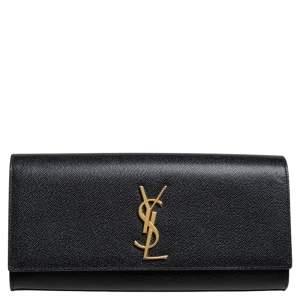 Saint Laurent Black Grained Leather Kate Monogram Clutch