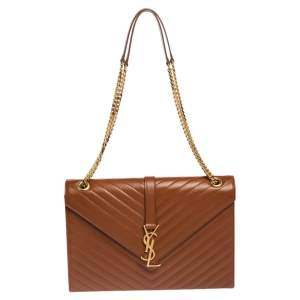 Saint Laurent Brown Chevron Quilted Leather Monogram Envelope Shoulder Bag