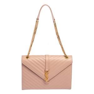 Saint Laurent Powder Pink Matelassé Leather Large Cassandre Flap Bag