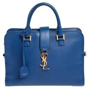حقيبة يد توتس سان لوران باريس كاباس جلد مونوغرامي زرقاء صغيرة