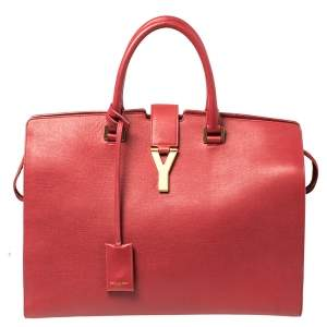 Saint Laurent Red Textured Leather Large Y Cabas Chyc Tote