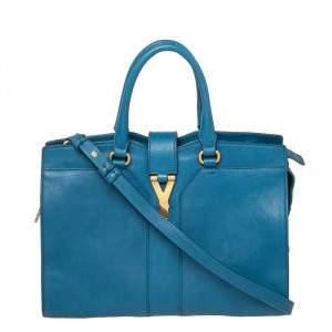 حقيبة يد توتس سان لوران كاباس واي لين جلد زرقاء صغيرة