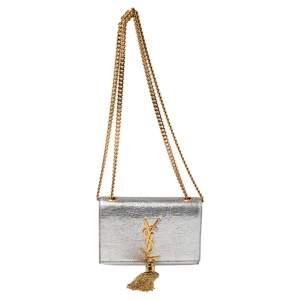 حقيبة كروس سان لوران كيت جلد فضي منقوش بشراشيب صغيرة
