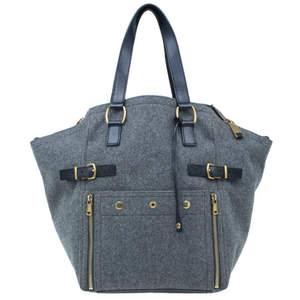Yves Saint Laurent Grey Felt Downtown Luggage Tote
