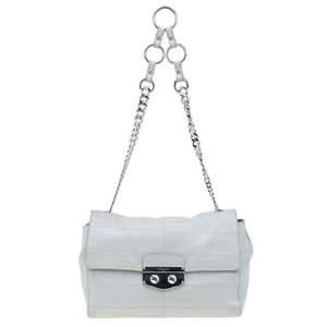 Yves Saint Laurent White Crocodile-Embossed Leather Flap Bag