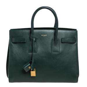 حقيبة يد توتس سان لوران كلاسيك ساك دو جور جلد أخضر صغيرة