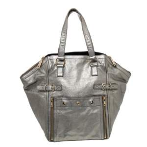 Yves Saint Laurent Grey Metallic Leather Downtown Tote