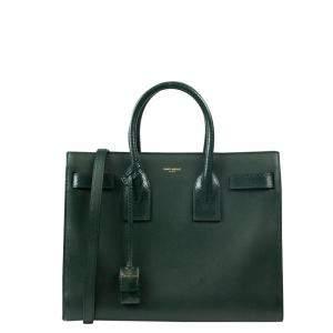 Saint Laurent Paris Green Leather Sac De Jour Tote Bag