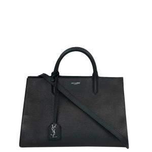 Saint Laurent Paris Black Leather Medium Cabas Rive Gauche Tote Bag