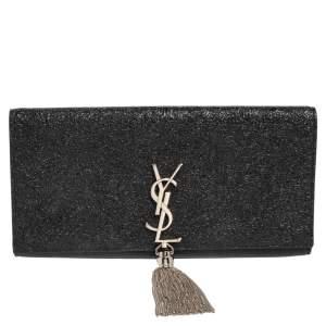 Saint Laurent Metallic Black Crackled Leather Kate Tassel Clutch