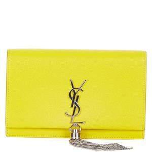 Saint Laurent Paris Yellow Calf Leather Kate Chain Wallet