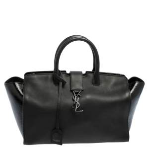 Saint Laurent Black Patent and Leather Small Downtown Cabas Tote