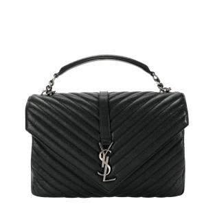 Saint Laurent Black Quilted Leather Monogram College Large Bag