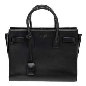Saint Laurent Black Leather Baby Classic Sac De Jour Tote