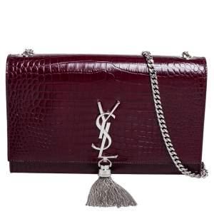 Saint Laurent Burgundy Croc Embossed Leather Medium Kate Tassel Shoulder Bag