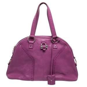 Saint Laurent Purple Leather Medium Muse Satchel