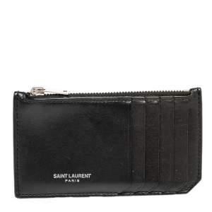 Saint Laurent Paris Black Leather Zip Card Holder