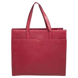 Saint Laurent Red Leather Front Pocket Tote