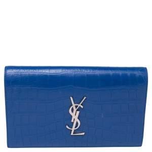 Saint Laurent Blue Croc Embossed Leather Kate Clutch