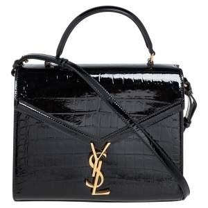 Saint Laurent Black Croc Embossed Patent Leather Medium Cassandra Top Handle Bag