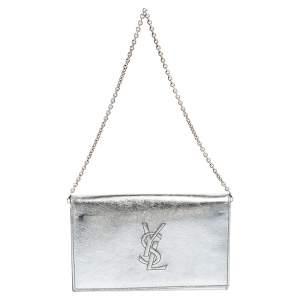 Saint Laurent Silver Leather Belle De Jour Chain Clutch